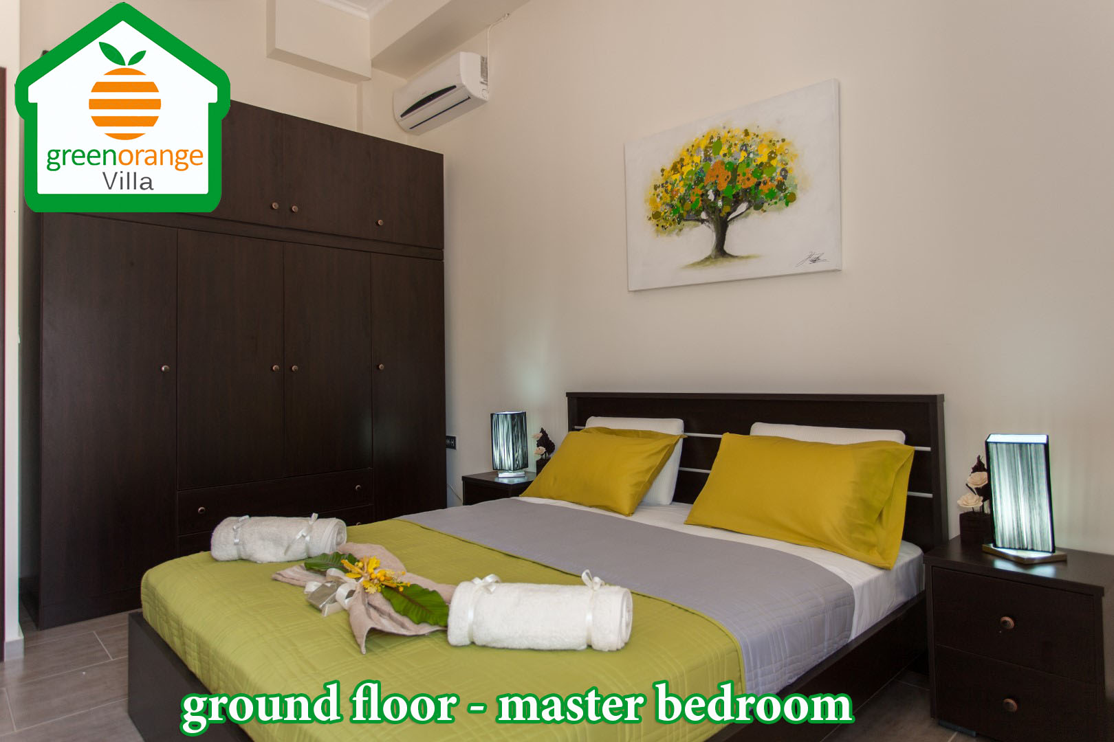 master bedroom for resnt, Green Orange Villa chania Crete Greece, rental home