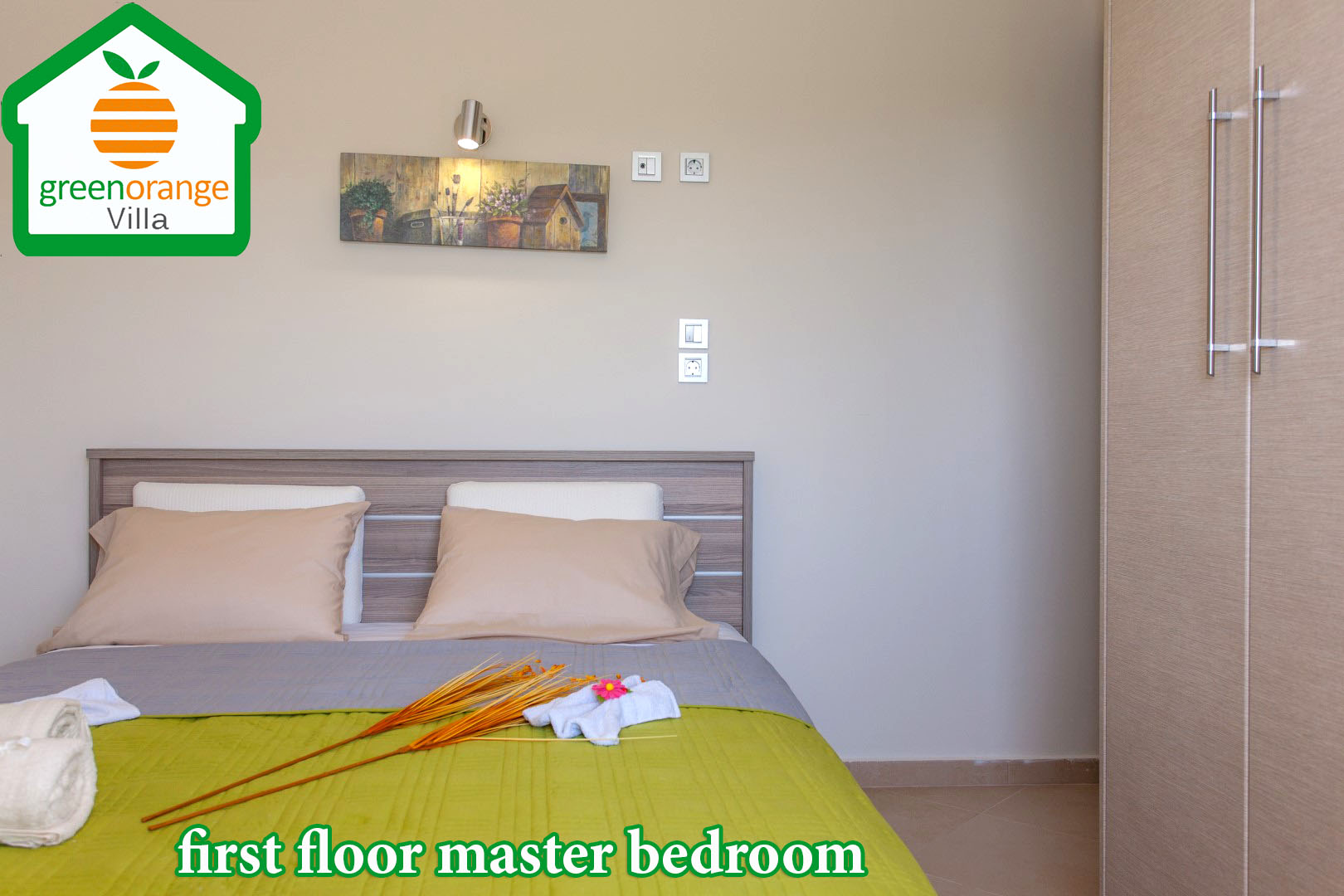 family bedroom for rent green orange villa hania crete greece