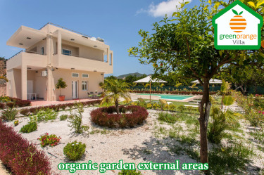 Family holidays, green orange villa rental home in Chania Crete Greece